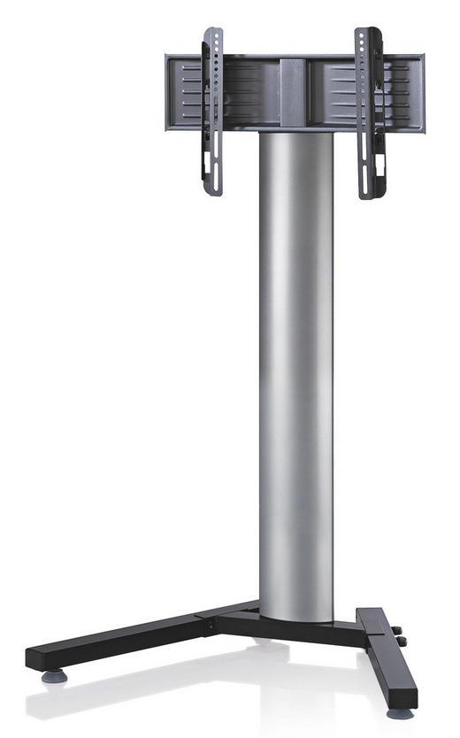 TV-RACK Schwarz, Silberfarben - Silberfarben/Schwarz, KONVENTIONELL, Glas/Metall (90/125/72cm)