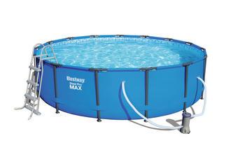 POOLSET STEEL PRO MAX 56488 - Blau, KONVENTIONELL, Kunststoff/Metall (457/107cm) - Bestway