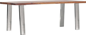 ESSTISCH in Holz, Metall 200/90/75 cm   - Edelstahlfarben/Sheeshamfarben, Design, Holz/Metall (200/90/75cm) - Carryhome