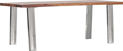 ESSTISCH Sheesham massiv rechteckig Edelstahlfarben, Sheeshamfarben - Edelstahlfarben/Sheeshamfarben, Design, Holz/Metall (200/90/75cm) - Carryhome