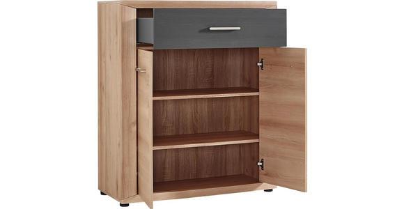 KOMMODE 90/105/42 cm - Dunkelgrau/Buchefarben, KONVENTIONELL, Holzwerkstoff/Metall (90/105/42cm) - Voleo