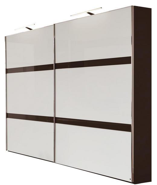 SCHWEBETÜRENSCHRANK 2-türig Braun, Weiß - Alufarben/Braun, Design, Glas/Holzwerkstoff (300/236/67cm) - Musterring