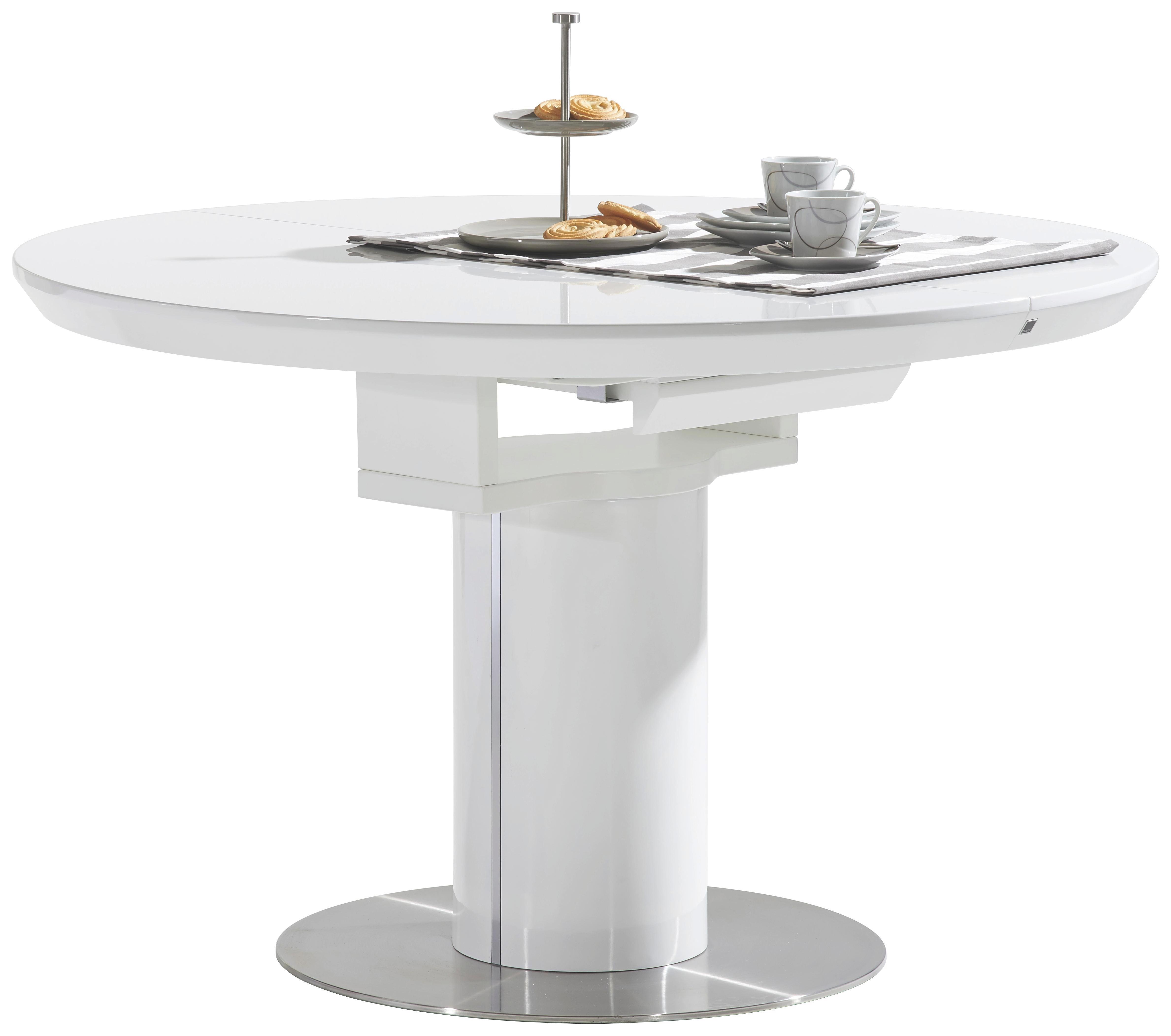 stol - bijela/boje oplemenjenog čelika, Design, drvni materijal/metal (120-160/76/120cm) - NOVEL