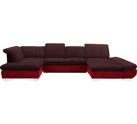 WOHNLANDSCHAFT in Textil Rot  - Chromfarben/Rot, Design, Kunststoff/Textil (211/350/204cm) - Xora