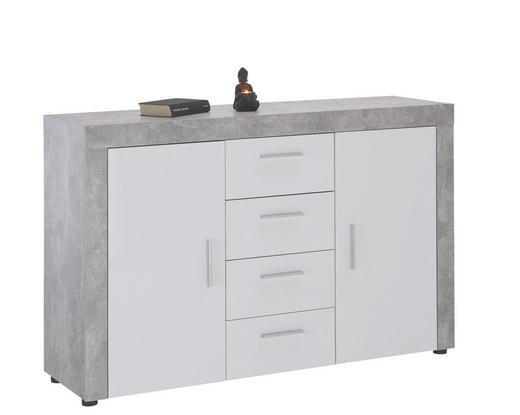 KOMMODE Grau, Weiß - Silberfarben/Schwarz, LIFESTYLE, Holzwerkstoff/Kunststoff (134 86 40cm) - Carryhome