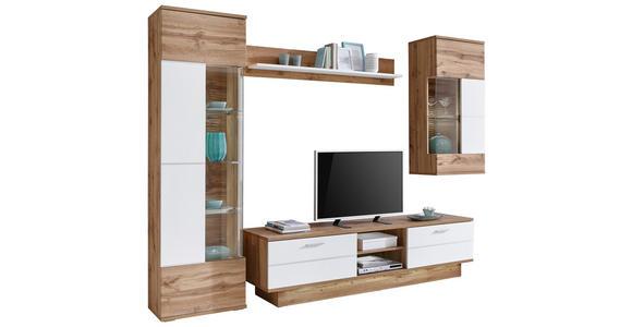 WOHNWAND Eichefarben, Weiß - Eichefarben/Silberfarben, KONVENTIONELL, Glas/Holzwerkstoff (300,2/207,4/50cm) - Cantus