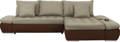 WOHNLANDSCHAFT in Textil Beige, Braun - Chromfarben/Beige, Design, Textil/Metall (309/200cm) - Hom`in