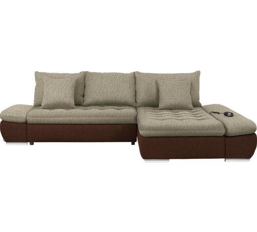 WOHNLANDSCHAFT in Textil Braun, Beige  - Chromfarben/Beige, Design, Textil/Metall (309/200cm) - Hom`in