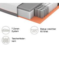 GEL-TASCHENFEDERKERNMATRATZE Primus 270 TFK 90/200 cm 22 cm - Dunkelgrau/Weiß, Basics, Textil (90/200cm) - Schlaraffia