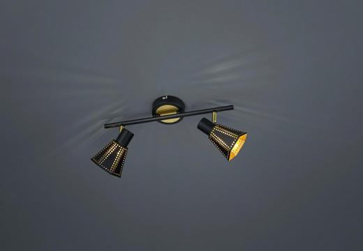 DECKENLEUCHTE - Goldfarben/Schwarz, MODERN, Metall (36,5/19/9,5cm)