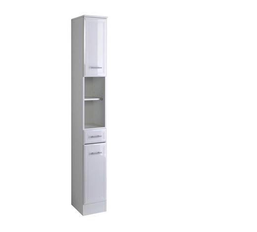 HOCHSCHRANK Weiß  - Silberfarben/Weiß, KONVENTIONELL, Holzwerkstoff/Kunststoff (25/190/34cm) - Carryhome