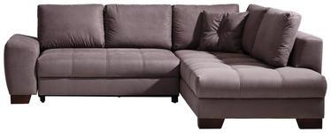 WOHNLANDSCHAFT Grau Mikrofaser  - Taupe/Dunkelbraun, Design, Holz/Textil (268/219cm) - Hom`in