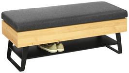 SITZBANK Flachgewebe Kerneiche vollmassiv Anthrazit, Eichefarben  - Eichefarben/Anthrazit, Design, Holz/Textil (118/48,5/41cm) - Valnatura