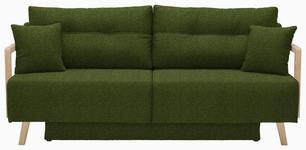 SCHLAFSOFA in Textil Dunkelgrün - Dunkelgrün/Naturfarben, KONVENTIONELL, Holz/Textil (200/92/95cm) - Venda