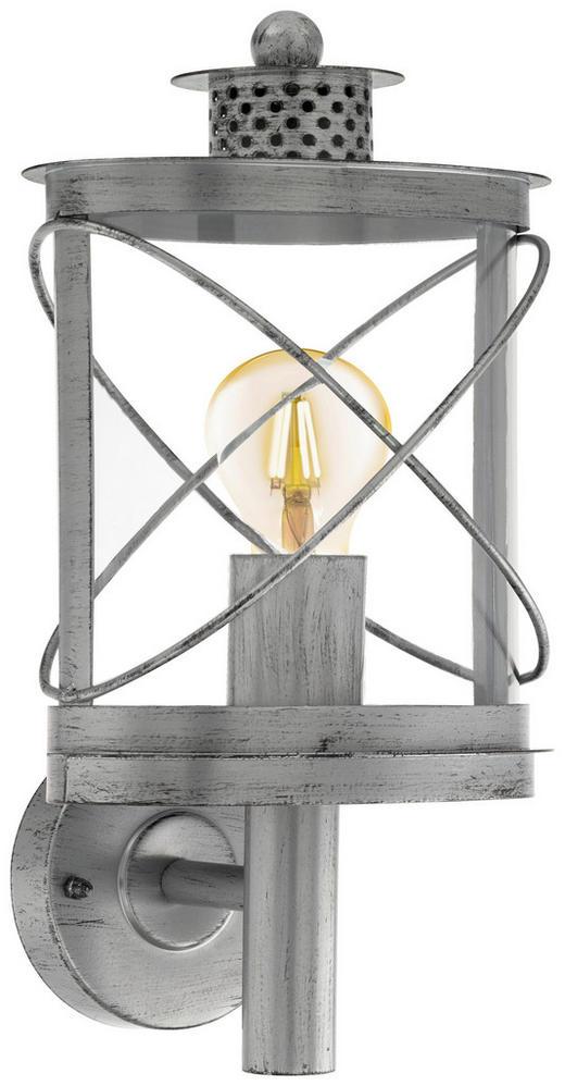 AUßENLEUCHTE Silberfarben, Zinkfarben - Silberfarben/Zinkfarben, Basics, Kunststoff/Metall (20/37,5/17cm)