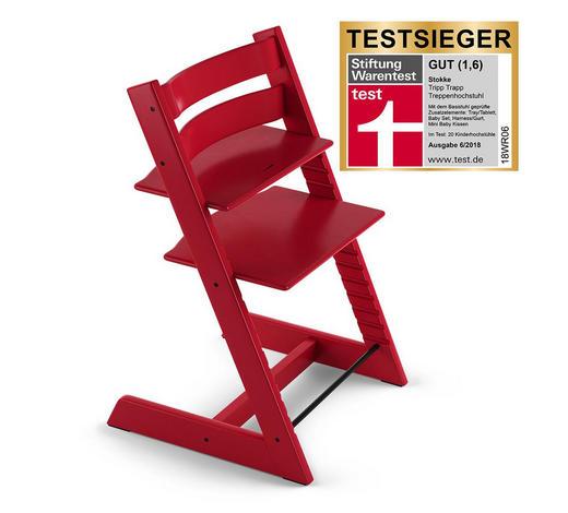 ŽIDLIČKA VYSOKÁ, buk, masivní, tvrdé dřevo, červená - červená, Lifestyle, dřevo (46/79/49cm) - Stokke