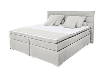 BOXSPRING KREVET - boje srebra/boje kroma, Design, tekstil/plastika (180/200cm) - NOVEL