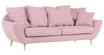 MEGASOFA Flachgewebe Rosa  - Rosa/Naturfarben, Trend, Holz/Textil (230/80/95cm) - Landscape