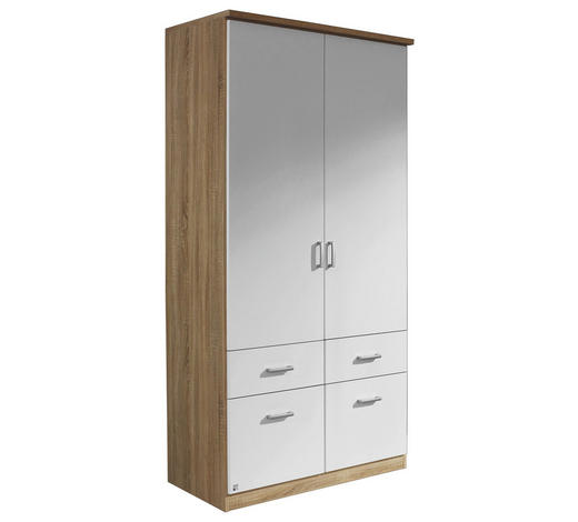 KLEIDERSCHRANK 2-türig Weiß, Eichefarben  - Eichefarben/Silberfarben, Design, Holzwerkstoff/Kunststoff (91/199/56cm) - Carryhome