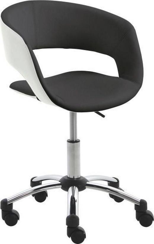 JUGENDDREHSTUHL Lederlook Schwarz, Weiß - Schwarz/Weiß, Design, Kunststoff/Textil (56/80-92/54cm) - Carryhome
