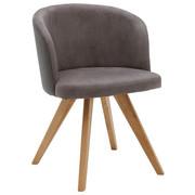 STOL, les, tekstil siva - siva/hrast, Design, tekstil/les (53/78/57cm) - Voleo