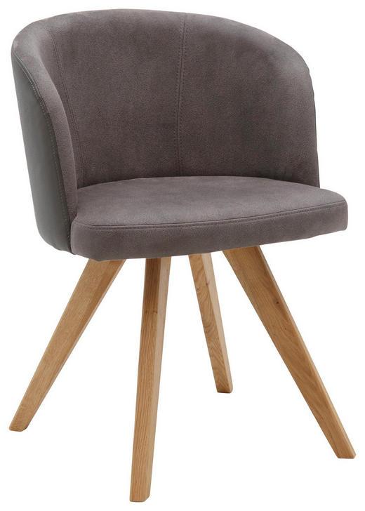 STUHL in Holz, Textil Grau - Eichefarben/Grau, Design, Holz/Textil (53/78/57cm) - Voleo
