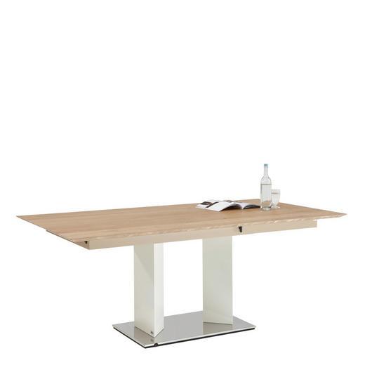 ESSTISCH Eiche mehrschichtige Massivholzplatte (Tischlerplatte) rechteckig Edelstahlfarben, Eichefarben, Weiß - Edelstahlfarben/Eichefarben, MODERN, Holz/Metall (190(250)/100/74cm)