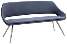 SITZBANK 175/88/66 cm  in Anthrazit, Blau, Grau, Edelstahlfarben  - Blau/Edelstahlfarben, Design, Textil/Metall (175/88/66cm) - Voleo