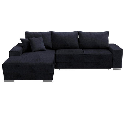WOHNLANDSCHAFT in Textil Blau  - Blau/Silberfarben, Design, Kunststoff/Textil (196/276cm) - Cantus