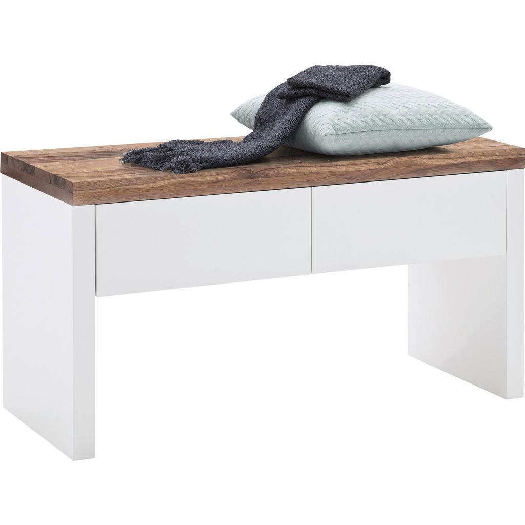 Garderobenbank , Weiß, Eiche , Holzwerkstoff , Asteiche,Eiche , massiv , 2 Schubladen , 91x48x38 cm , Garderobe, Garderobenbänke