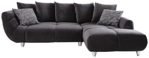 WOHNLANDSCHAFT Anthrazit Samt - Chromfarben/Anthrazit, Design, Kunststoff/Textil (275/192cm) - Hom`in