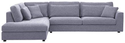 WOHNLANDSCHAFT Flachgewebe - Blau/Schwarz, Design, Holz/Textil (224/333cm) - VALNATURA