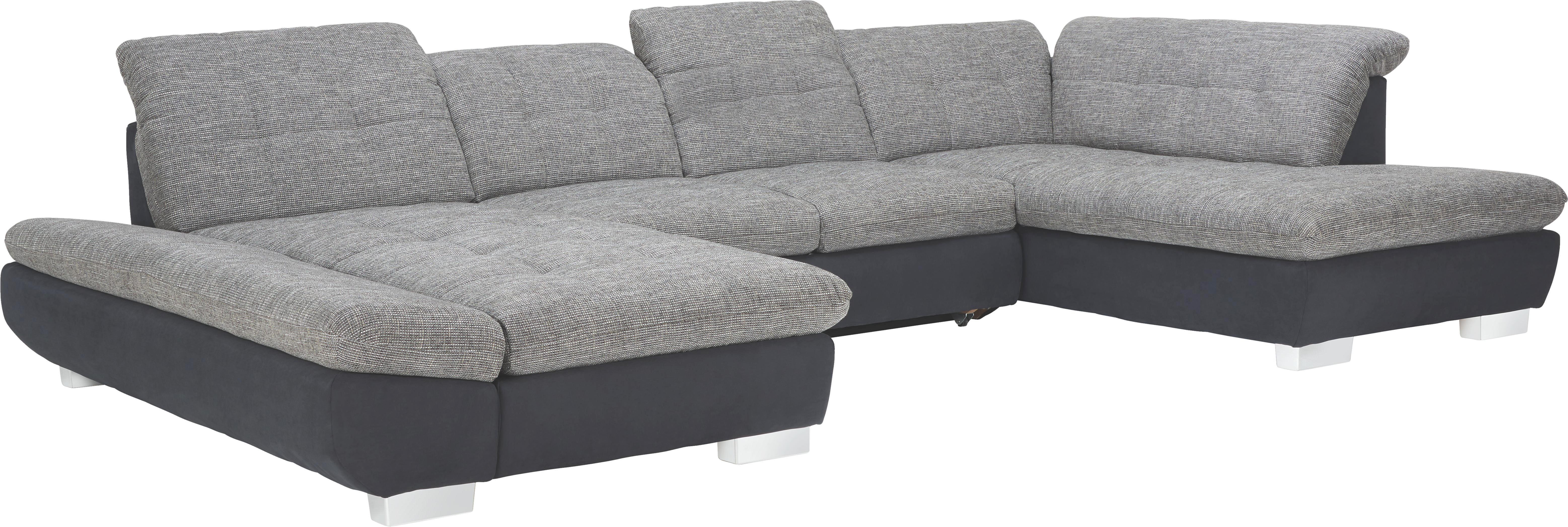 WOHNLANDSCHAFT in Grau, Schwarz Textil - Chromfarben/Schwarz, Design, Kunststoff/Textil (204/350/211cm) - XORA