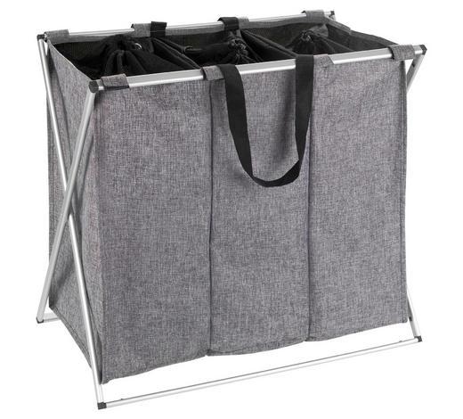 KOŠ NA PRÁDLO, šedá, barvy hliníku - šedá/barvy hliníku, Basics, kov/textil (63/57/38cm)