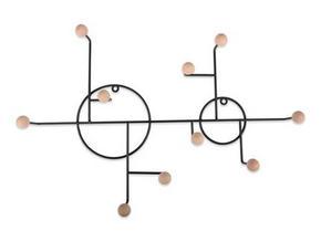VÄGGHÄNGARE - svart/naturfärgad, Trend, metall/trä (59/40/50cm)