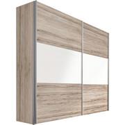 SCHWEBETÜRENSCHRANK in Eichefarben, Weiß - Eichefarben/Alufarben, Design, Holzwerkstoff/Metall (250/236/68cm) - HOM IN