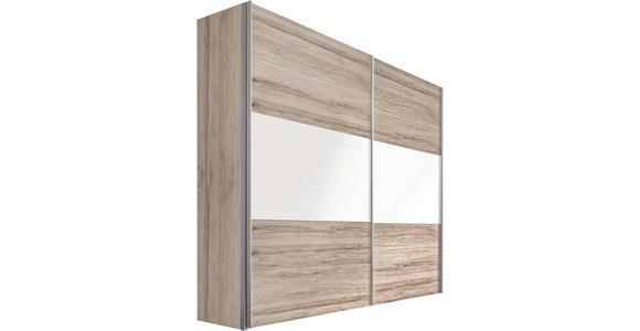 SCHWEBETÜRENSCHRANK in Eichefarben, Weiß - Eichefarben/Alufarben, Design, Holzwerkstoff/Metall (250/236/68cm) - Hom`in