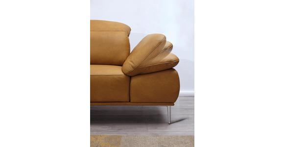 WOHNLANDSCHAFT in Leder Gelb, Currygelb  - Chromfarben/Currygelb, Natur, Leder/Metall (206/343cm) - Valnatura
