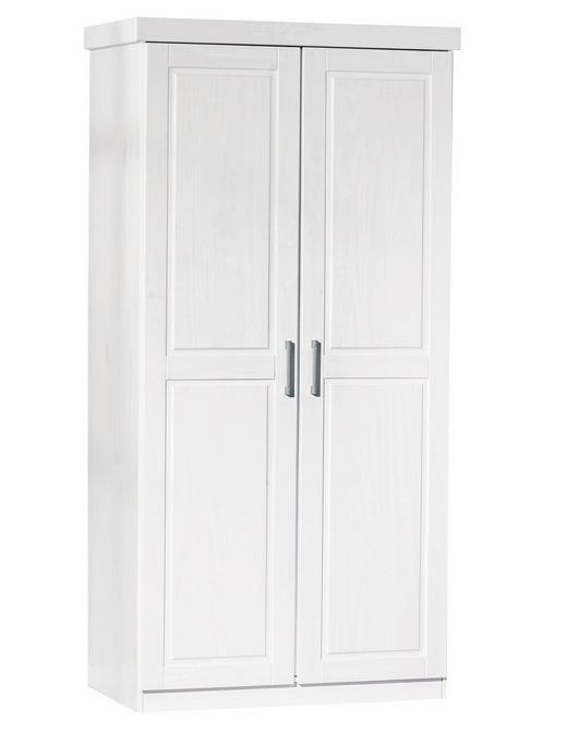 DREHTÜRENSCHRANK 2  -türig Kiefer massiv Weiß - Alufarben/Weiß, LIFESTYLE, Holz/Metall (95/190/55cm) - Carryhome