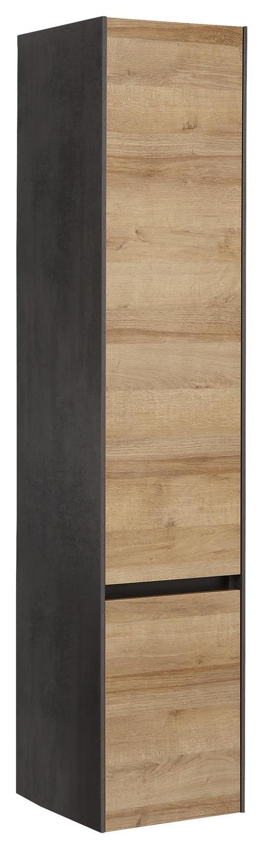 HOCHSCHRANK Eichefarben - Dunkelgrau/Eichefarben, Design, Glas/Holzwerkstoff (37/168/33cm) - Dieter Knoll