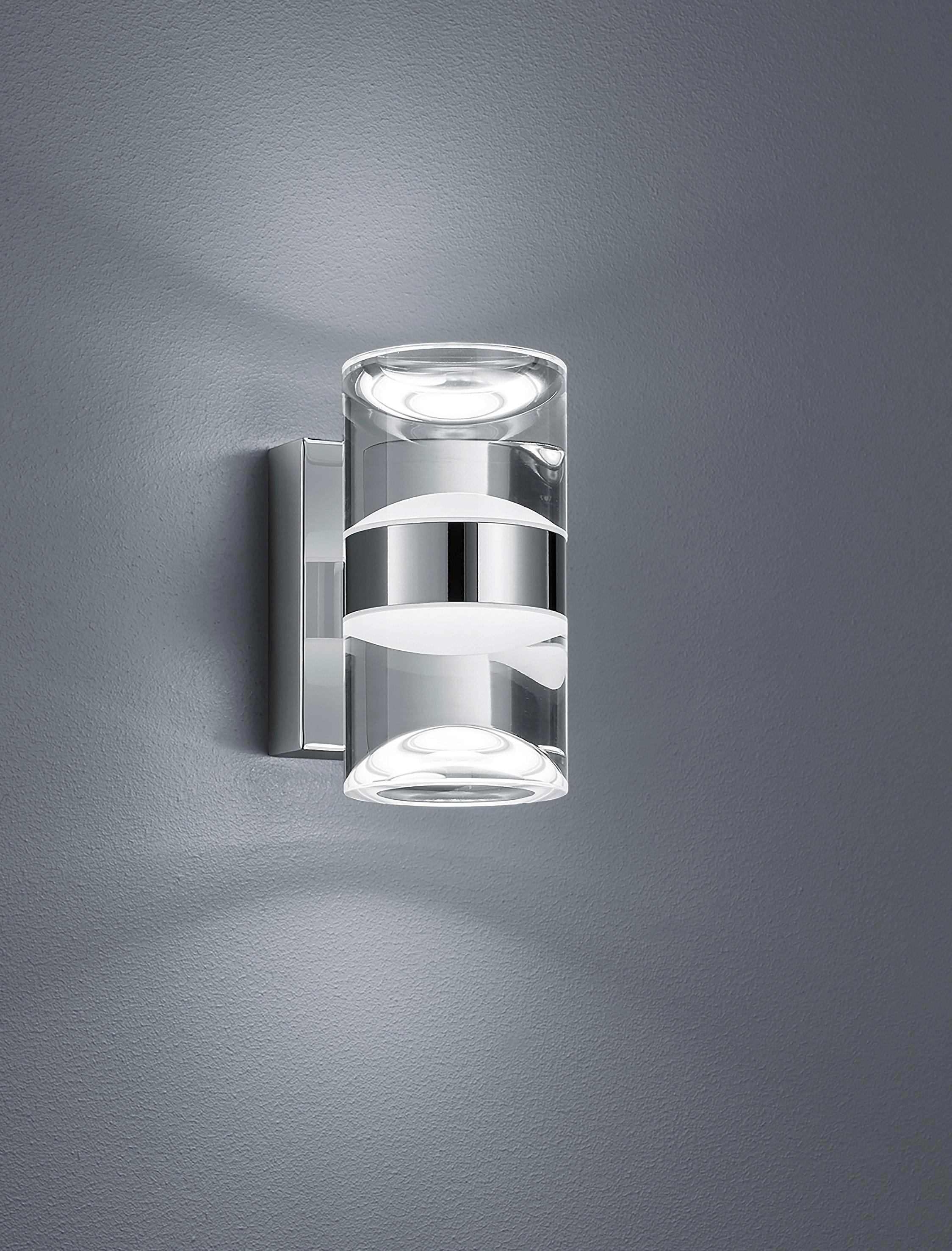 BADEZIMMER-WANDLEUCHTE - Chromfarben/Klar, Design, Kunststoff/Metall (16,0/8,5/12,5cm)