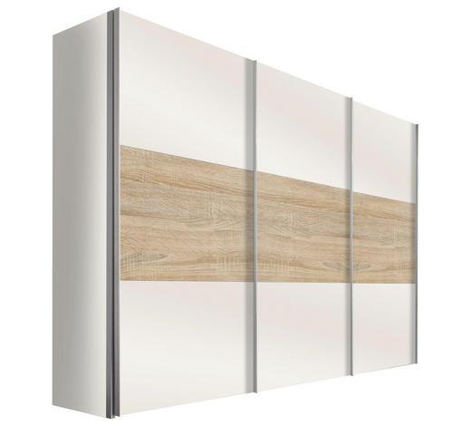 SCHWEBETÜRENSCHRANK in Weiß, Eichefarben - Eichefarben/Alufarben, Design, Holzwerkstoff/Metall (300/236/68cm) - Hom`in