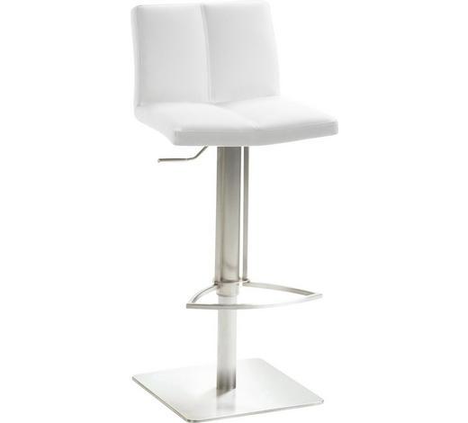 BARHOCKER in Weiß, Edelstahlfarben - Edelstahlfarben/Weiß, Design, Textil/Metall (42/82-107/38cm)