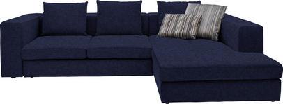 WOHNLANDSCHAFT in Textil Blau  - Blau/Schwarz, Design, Kunststoff/Textil (304/194cm) - Dieter Knoll