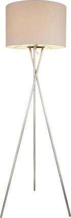 STEHLEUCHTE - Weiß/Nickelfarben, LIFESTYLE, Textil/Metall (54/160cm)