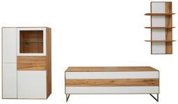 WOHNWAND in Weiß, Eichefarben  - Eichefarben/Weiß, Design, Glas/Holz (341/205,5/54,2cm) - Valnatura