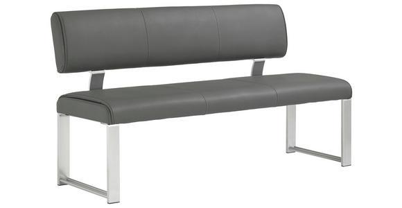 SITZBANK  in Grau, Edelstahlfarben  - Edelstahlfarben/Grau, Design, Leder/Metall (180cm) - Dieter Knoll