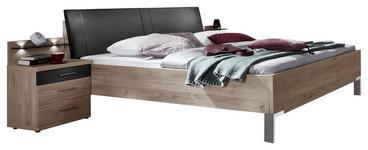 BETTANLAGE in Eichefarben, Schieferfarben  - Schieferfarben/Eichefarben, KONVENTIONELL, Holzwerkstoff/Textil (180/200cm) - Voleo