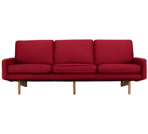 DREISITZER-SOFA in Textil Rot - Rot, Design, Holz/Textil (216/76/76cm)