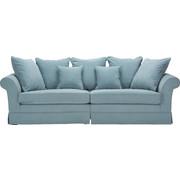 MEGA POHOVKA, světle modrá, textilie,  - tmavě hnědá/světle modrá, Trend, dřevo/textilie (264/70/111cm) - Ambia Home